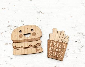 JUNK FOOD | Super Cute Happy Hamburger and Fries Before Guys Brooches Pins