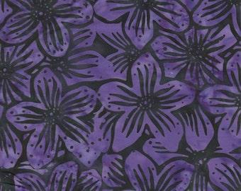 Parkside Fabrics Bali Batik By Princess Mirah, Purple Floral on black print