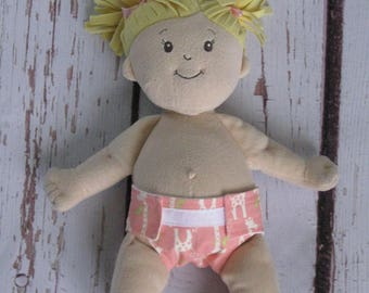 Doll Diaper-Handmade Diaper fits Baby Stella, Pottery Barn Doll other dolls-Peach and Cream Giraffe print diaper-Great for pretend play