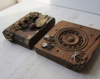 Pair Bracelet / Ring / Necklace Jewelry Display Blocks - Dark Brown and Oak - Recycled Architectural Salvage Bullseyes