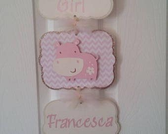 Baby Girl Hospital Banner-Baby Girl Hospital Sign-Baby Girl Hippo Baby Shower-Baby Girl Pink Hippo Hospital Sign