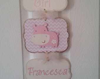 Baby Girl Hospital Banner-Baby Girl Hospital Sign-Baby Girl Hippo Baby Shower-Baby Girl Pink Hippo Hospital Sign
