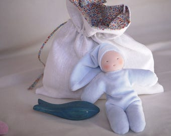 Set of waldorf toys for baby, grey cuddle waldorf doll and a blue wood whale for the bath