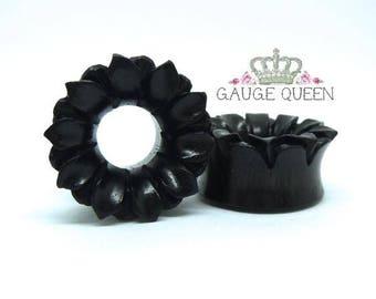 "Lotus Flower Wood Plugs / Gauges. 9/16"" / 14mm, 5/8"" / 16mm, 7/8"" / 22mm, 1"" / 25mm"