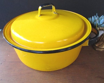 Yellow Enamel Pot Vintage Kitchen Stockpot Mid Century Dutch Oven