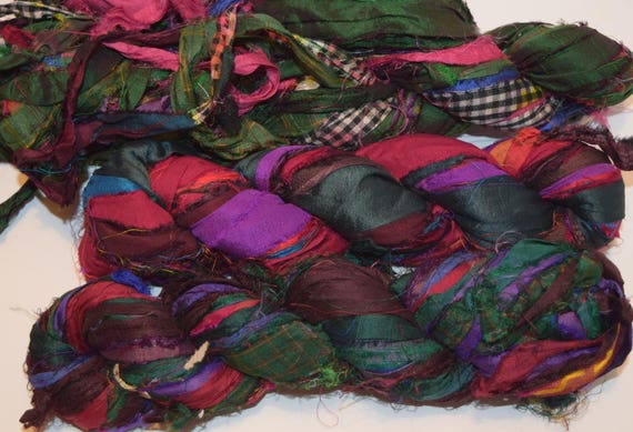 Recycled Sari Silk Ribbon Yarn,3 5 oz / 100 grams, 60 yards