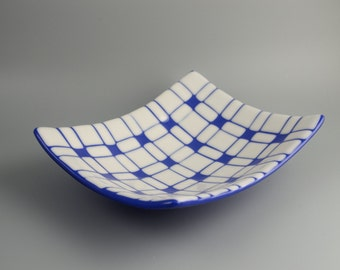 Geometric Fused Glass Platter in White & Cobalt Blue FB329