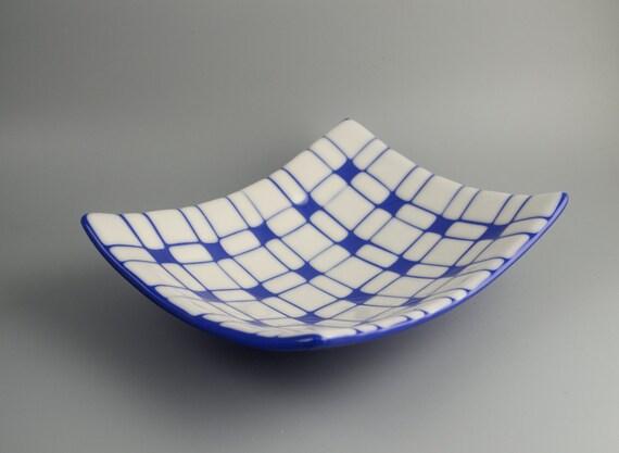 Geometric Fused Glass Platter in White & Cobalt Blue FB329