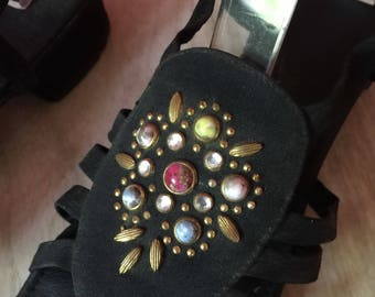 Vintage Jeweled Sandals ~ Strappy Black 1960s Shoes