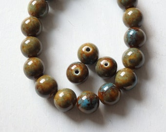 """Glazed porcelain beads - 11.5"""" strand, olive green and brown porcelain beads with turquoise marbling, 14mm glazed ceramic beads- 21 pcs."""
