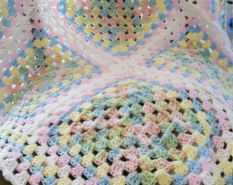 Crocheted variation of a 'Granny Square' Baby Blanket - multi colors