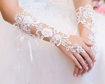 White Bridal Lace Gloves
