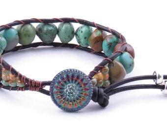 Turquoise Beaded Leather Cuff Bracelet Cowgirl Cuff Bracelet Contry Wstern Bracelet Natural Turquoise Bracelet