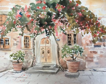 Red Bougainvillea Original Watercolor, Italy Art, Small Painting, Tuscan Landscape, Orange Red Green, Floral Landscape Art, Tuscany Painting
