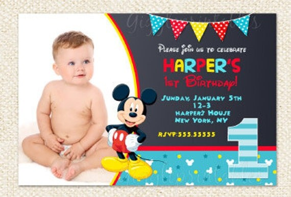 first birthday mickey mouse invitations