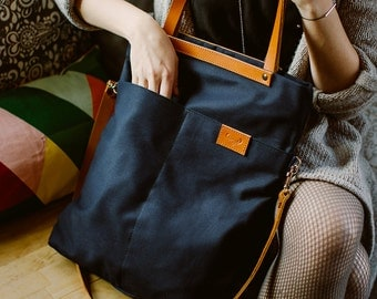 CHAMELEON B-Blue bag / handbag and backpack in one bag / crossbody bag / backpack / tote bag / natural leather handles and removable strap