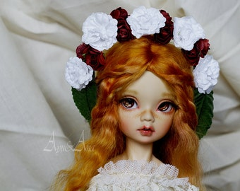 Rouge Manifique flower handmade headband wreath corolla for bjd dollfie msd mnf 6-8.5 inch size dolls heads