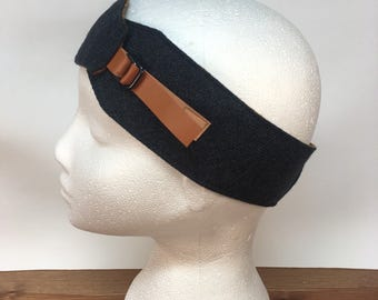 Blue and mustard earwarmers