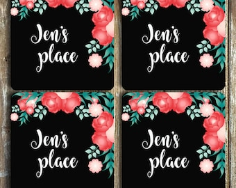 Personalised Neoprene Coasters Set of 4 or 6 Great gift ideas for housewarming, birthdays, Christmas