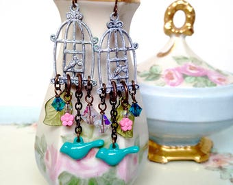 Birdcage earrings, bluebird earrings, bird jewelry with leaves, spring jewelry, chandelier earrings, gift for her, Mother's Day gift idea