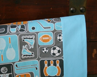 Ready to Ship, Organic Toddler Pillowcase, Organic Travel Pillowcase, Sports, Soccer, Football, Baby Boy, Blue, Sports Pillowcase