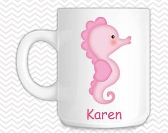 Seahorse Kids Mug - Personalized Seahorse Mug - Customized Mug - Melamine Cup - Personalized Kids cup