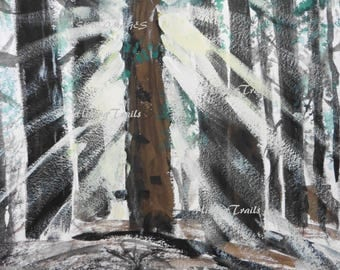 Angel In Woods, DIGITAL PAINTING DOWNLOAD, forest painting, watercolor art,woods painting, sunrays, fine art copy of painting