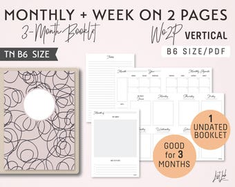 B6 Monthly-Weekly Vertical Unlined Printable Booklet Insert - Good for 3 Months