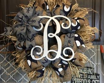 Everyday Wreath Nautical Wreath Beach Wreath Lake Wreath Monogram Wreath Burlap Wreath