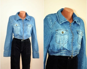 Short Denim Zipp Midriff Jacket Crop Sport Blue Bomber Vintage Denim Jacket Outwear 80s size M-L / 40-42/