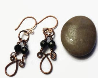 Wire Wrap Earrings with Black Spinel Beads/ Copper  Earrings with Black Spinel Gemstones/ Dangle Earrings/ Copper Earrings