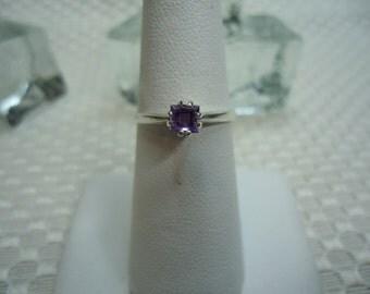 Princess Cut Amethyst Ring in Sterling Silver  #1918