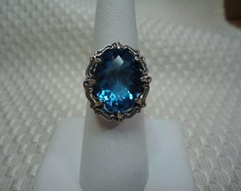Oval Cut Checkerboard Faceted Blue Fluorite Ring in Sterling Silver  #1961
