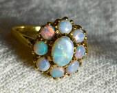 Opal Ring Black Opal Ring Yellow Gold Semi Black Opal Engagement Ring Antique Australian Blue Opal Halo Ring October Birthday