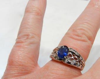Vintage Engagement Ring Sapphire Ring 18K 1 Ct Sapphire Genuine Blue Sapphire 18K White Gold Ring Unique Engagement September Birthday