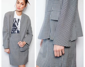 SALE was 600 now 450 luxe vintage 80s CHRISTIAN DIOR numbered houndstooth wool cocoon wrap jacket skirt suit