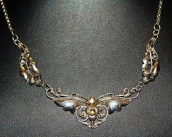Antique Art Nouveau 14K Gold Sterling Silver Smoky Quartz Two Tone Necklace NC1