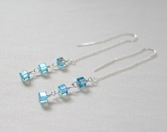 30th Birthday,For Her,March Birthstone,Earrings,Sterling Silver Threaders,March Birthday,Aquamarine,21st Birthday,Unique,Gift,Bridesmaid