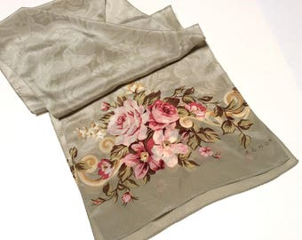 Vintage Echo Silk Scarf, Designer Silk Scarf, Floral Silk Scarf, Pretty Scarf with Roses, Excellent Condition, Perfect Mothers Day Gift
