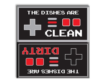 Funny Retro Clean Dirty Dishwasher Magnet - Vintage Stocking Stuffer Christmas Gift Idea Video Game Style Fridge Magnetic