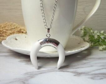 Fashion Druzy White Crescent  Horn Nature Shell Gemstone Pendant Necklace   0177-2