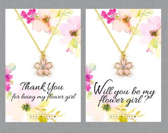 Flower Girl Gift, Flower Girl Necklace, Will You Be My flower Girl, Thank You, Cherry Blossom Spring Wedding Necklace, Gold Flower Girl