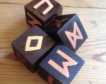 Rune Dice, Wooden Rune Dice . African Ironwood  runes with copper symbols