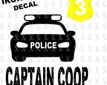 DIY Police Car Badge Captain Name Birthday Iron On Decal Set Policy Theme Vinyl Decal