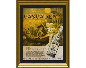 Cascade Bourbon - Kentucky Whisky Ad from 1963 - Bar Wall Decor