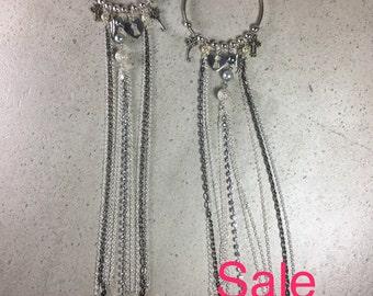 Hoop Chain & Charm Earrings, Chain Hoop Earrings Silver, Big Hoop Earrings, Long Chain Earrings