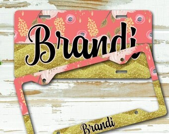 Girly personalized license plate or frame, Floral with faux glitter chevron Pink gold flowers Monogram seat belt strap cover keychain (1678)