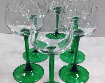 Vintage Luminarc Wine Goblets Glassware France Green Stem