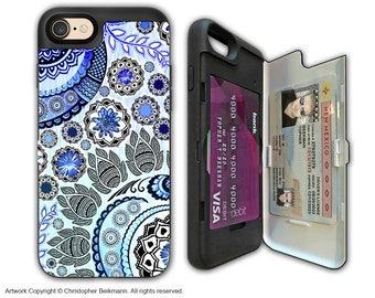 Blue Paisley Floral Apple iPhone 7 Card holder Case - Blue Mehndi - Wallet Apple iPhone 7 Case with Rubber Sides by Da Vinci Case