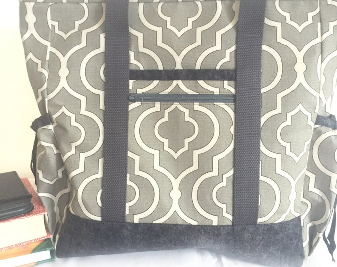 Work Tote, Travel Tote, Large Tote Bag with Pockets, Grey Kitchen Sink Tote, Professional Tote, Zippered Teacher Tote, Nurse Tote